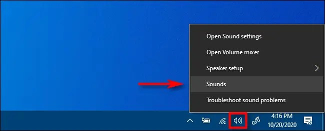 "Right click the taskbar and select ""Sounds."""