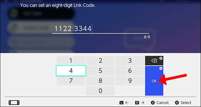 "Press the A button to select ""OK"" and confirm your eight-digit code."