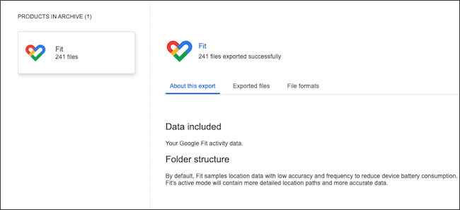 Export and view Google Fit data