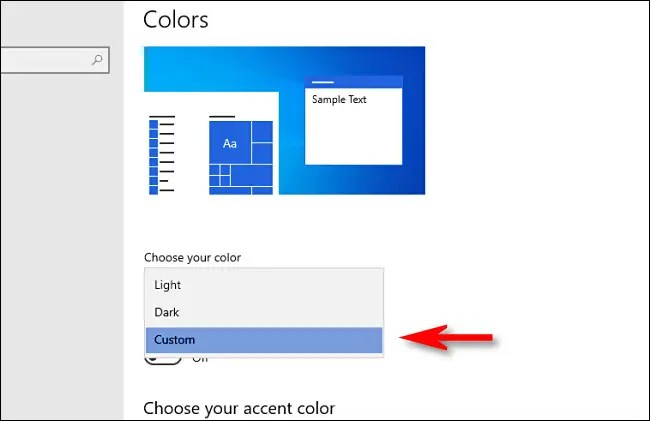 """In Windows Settings, under """"Choose your color, """" select """"Custom."""""""