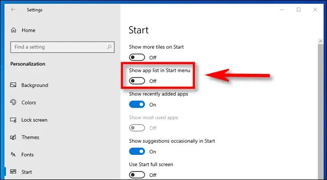 "In Windows 10 Settings, click the ""Show app list in Start menu"" switch to turn it off."