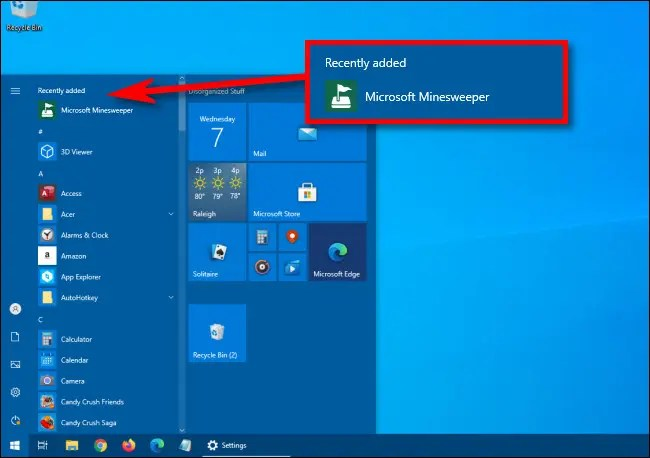 """An example of the """"Recently added"""" apps section at the top of the Start menu app list."""