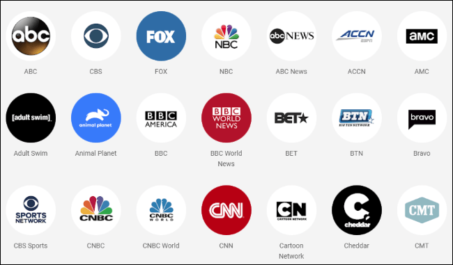 Logos of TV networks available on YouTube TV