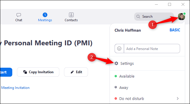 """Click your profile icon in Zoom and select """"Settings"""""""