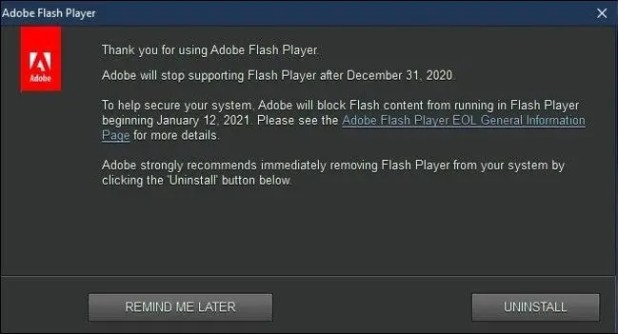 Uninstall Adobe Flash on Windows