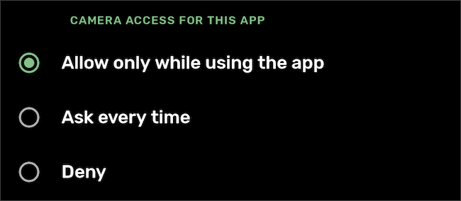 """Select """"Ask every time"""" to enable temporary permission for an app"""