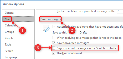 """The """"Save copies of messages in the Sent Items folder"""" option."""