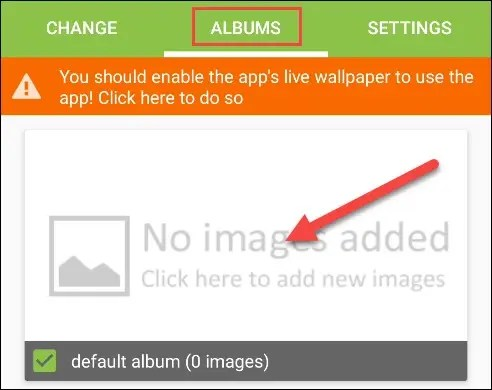 """Tap """"Albums,"""" and then select the """"Default Album"""" checkbox."""