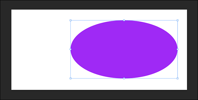 distorted purple circle with free transform controls visible
