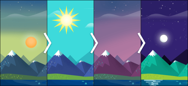 Dawn, noon, dusk, and nighttime wallpaper.