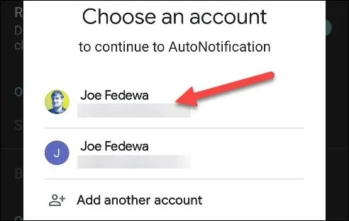 Select your Google account.