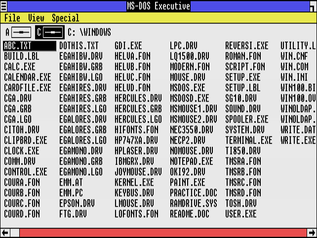 """A list of files in """"MS-DOS Executive"""" on Windows 1.01."""