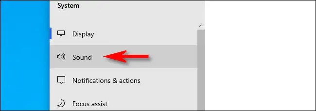 "In Settings on Windows 10, click ""Sound."""