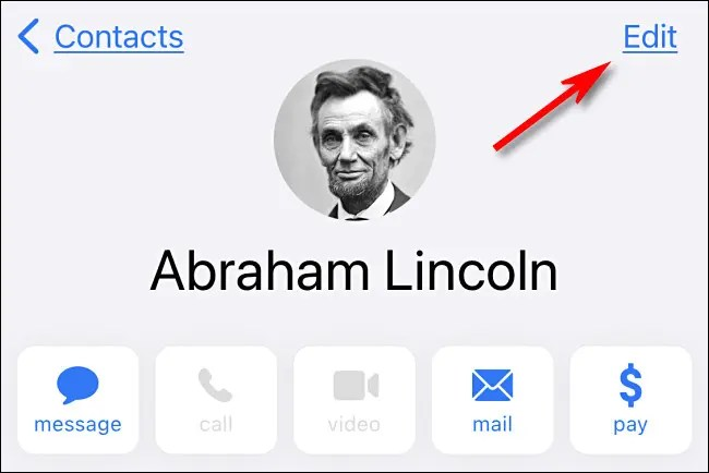 """In iPhone Contacts, tap """"Edit."""""""