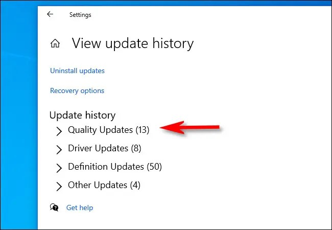 """On the """"View update history"""" page, click the header of each category to expand it."""