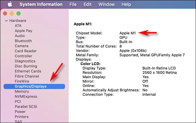 Detailed information on Graphics in the System Information app on an Apple Silicon Mac.