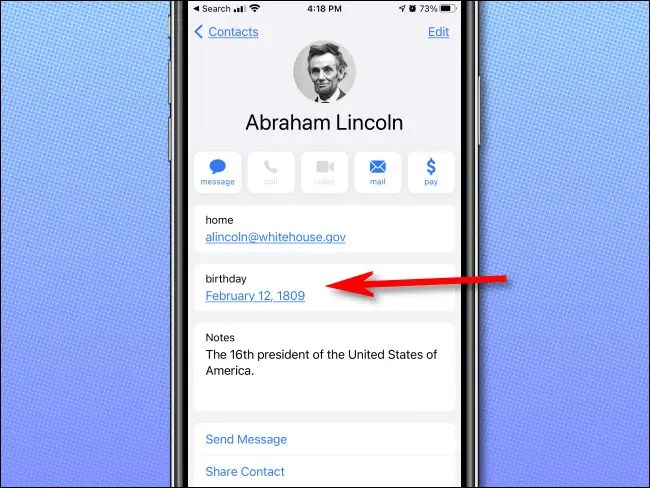 Examining a birthday in the Apple iPhone Contacts app.