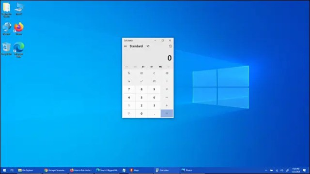 The Windows 10 Calculator app has been brought to the foreground.