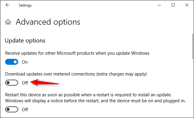 """Ensure """"Download updates over metered connections"""" is off."""