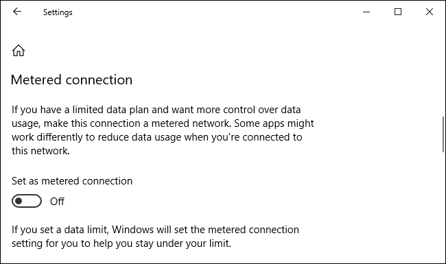 """Activate """"Set as metered connection."""""""