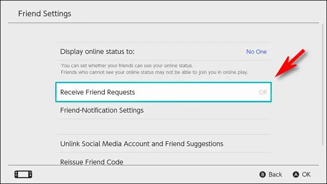 """In Switch User Settings, turn """"Receive Friend Requests"""" to """"Off."""""""