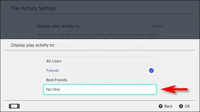 """On the Switch, set """"Display play activity to"""" to """"No one."""""""