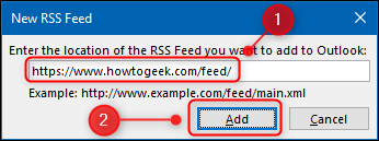 """The """"New RSS feed"""" the window."""