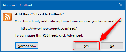 """The """"Yes"""" button in the RSS confirmation window."""