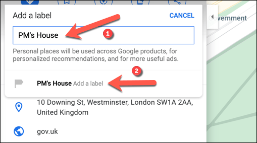 """Type a memorable label for the location in the """"Add A Label"""" box, then press the label beneath it to confirm."""