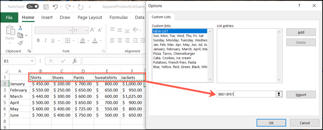 Drag through the list items to import them