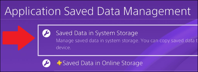 """Select """"Saved Data in System Storage."""""""