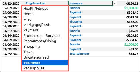 Change to a Custom Category for a transaction