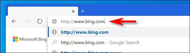 """Type """"bing.com"""" into your browser's address bar."""