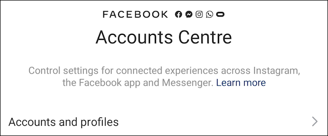 Facebook Accounts Centre on Instagram