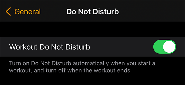 preview image showing workout do not disturb toggle