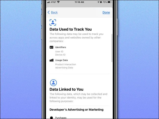 App Store privacy details on iPhone