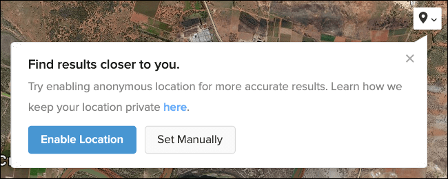 Enable Anonymous Location in DuckDuckGo Maps