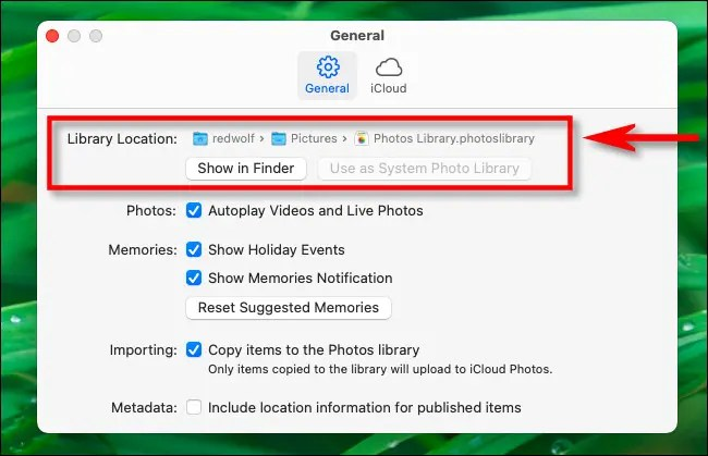 """In Photos Preferences, locate the """"Library Location"""" section, and you'll find the path to the library file."""