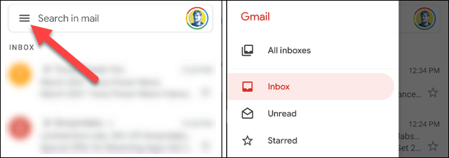 hamburger menu in gmail