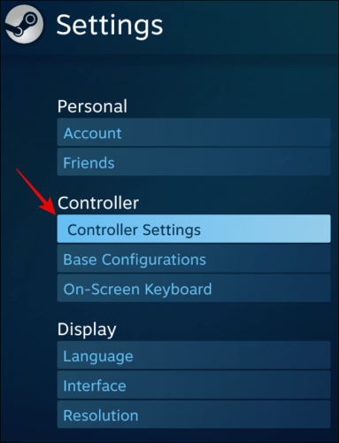 Select Controller Settings under Controller