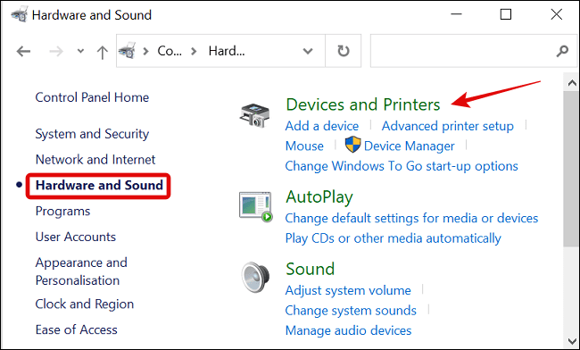 Click Hardware and Sound in Control Panel Menu and Choose Devices and Printers