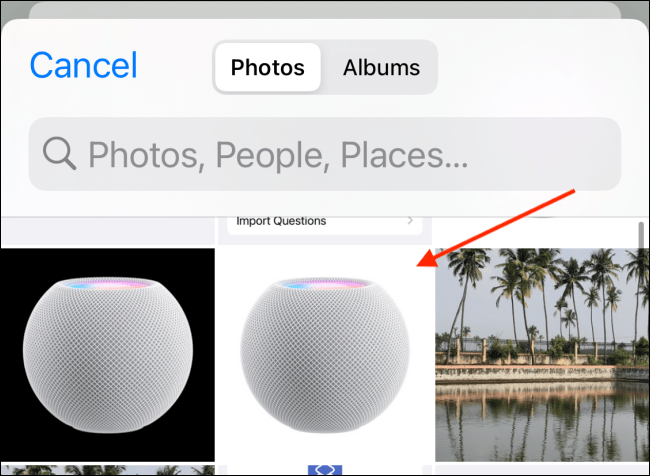Select HomePod Icon from Photos