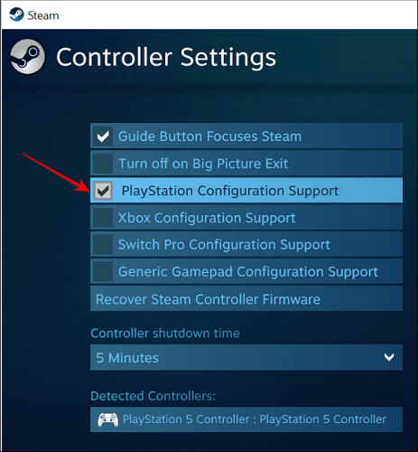 Enable PlayStation Configuration Support in Steam