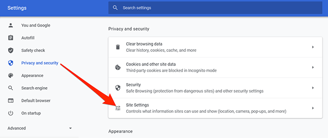 Site settings option in Chrome