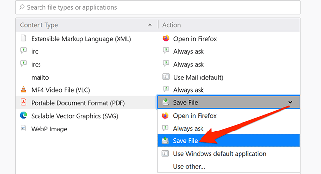 Save File option for PDFs in Firefox