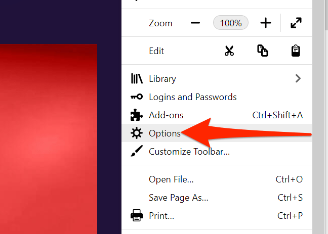 Options option in Firefox