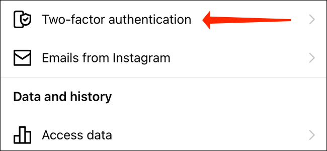 Tap Two-factor authentication in Instagram settings