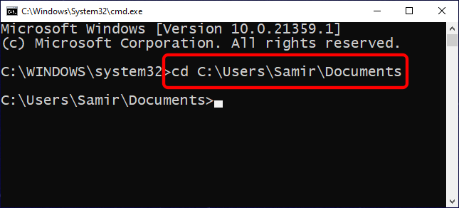 Change Directories in the Command Prompt