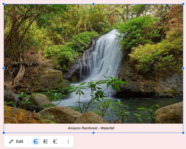 Drawing image caption in Google Docs
