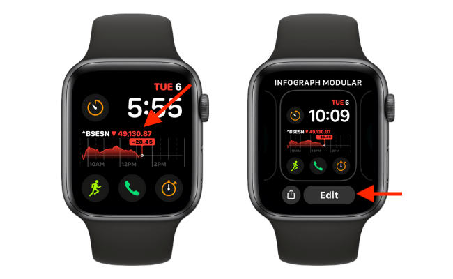 Tap and Hold the Watch Face and Tap Edit